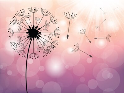 Quadro Dandelion no vento, vector background