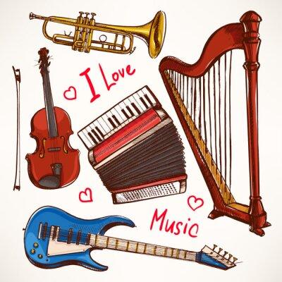 Quadro Definir com instrumentos musicais desenhados à mão