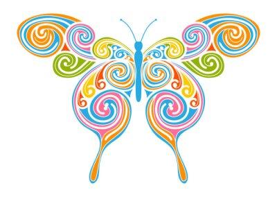 Quadro Dekoratives Vektor Element - bunter, abstrakter Schmetterling mit Spiral Muster. Design Vorlage für Grußkarten und Hintergründe. Frühling, Frische Farben.
