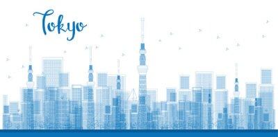 Quadro Descrição da foto: Arranha-céus da cidade de Tokyo na cor azul.