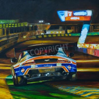 Quadro Descrição da foto: Retrato pintado mão da condução de carro de competência na noite com alta velocidade no circuito. Ilustração criada com acrílico