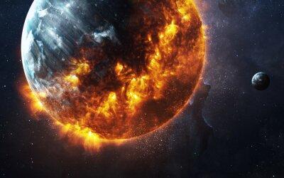 Quadro Descrição da ilustração: Fundo apocalíptico abstrato - planeta ardente e de explosão. Esta imagem elementos fornecidos pela NASA