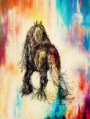 Quadro Desenhe o cavalo do lápis no papel velho, no papel do vintage e na estrutura velha com pontos da cor.