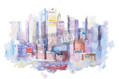Quadro Desenho da aguarela da arquitectura da cidade de New York, EUA. Pintura de aquarelle de Manhattan.