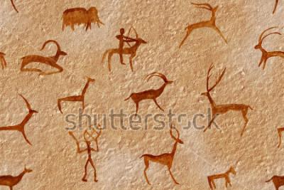 Quadro Desenho sem emenda em uma caverna pintada por um homem antigo em uma parede, uma rocha. Pinta o ocre laranja vermelho. Caçando um animal. Xamã, aborígene, neandertal, ova, carneiro, navio, mamute, vea
