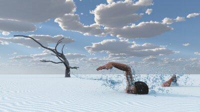 Quadro Deserto, areias, nadador