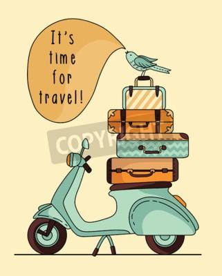 Quadro Design de poster de scooter vintage. Scooter com bagagem
