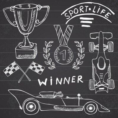 Quadro Desporto itens auto doodles elementos. Jogo desenhado mão com o ícone da bandeira. Bandeiras checkered de corrida ou primeiro-prêmio do copo. medalha e carro rasing, ilustração vetorial corrida. Desen