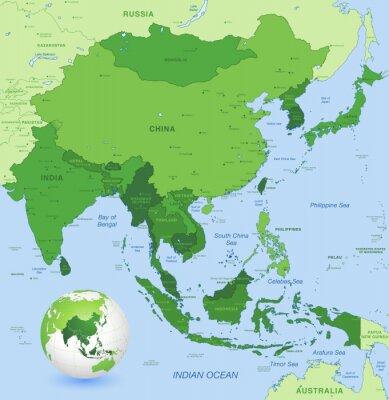 Quadro Detalhe elevado vector mapa de Far East Asia