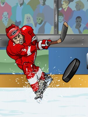 Quadro Detroit jogador de hóquei no gelo.