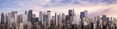 Quadro Dia City Panorama / 3D rendem do dia moderno Cidade Sob O Céu Brilhante