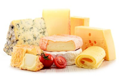 Quadro Diferentes tipos de queijo isolado no fundo branco
