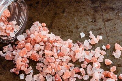 Quadro Dispersos, Himalayan, rosado, sal, cristais, vidro, garrafa, Enferrujado, metal, fundo