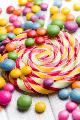 Quadro doces coloridos e pirulito