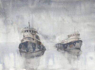 Quadro Dois barcos no mar. Tempo nebuloso. Chuva. Mar. Navios Fishind.