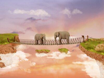 Quadro Dois elefantes em uma ponte no céu