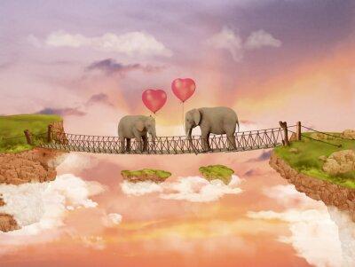 Quadro Dois elefantes em uma ponte no céu com balões. Ilustração
