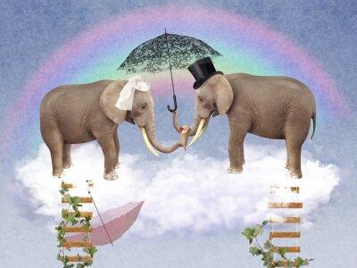 Quadro Dois elefantes no amor com guarda-chuvas.