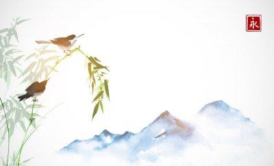 Quadro Dois passarinhos, galho de bambu e longe montanhas azuis. Tinta oriental tradicional pintura sumi-e, u-sin, go-hua. Hieróglifo - eternidade.