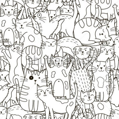Quadro Doodle padrão sem alteração de gatos. Fundo bonito preto e branco. Ótimo para livro de colorir, acondicionamento, impressão, tecido e têxtil. Ilustração vetorial