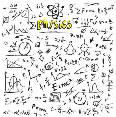 Quadro Doodle Physics fórmulas fundo, textura e padrão