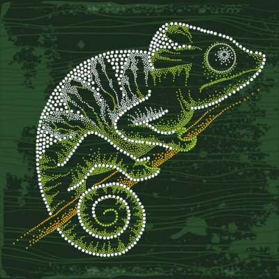 Quadro Dotted Chameleon sitting on the branch