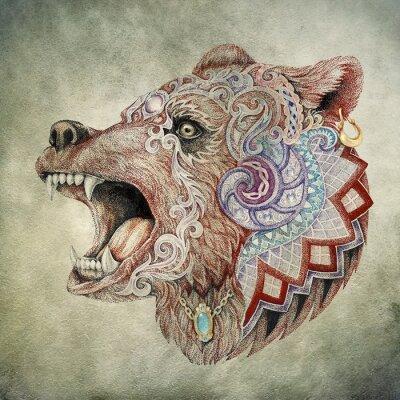 Quadro Dotwork, tatuagem, cabeça furioso urso