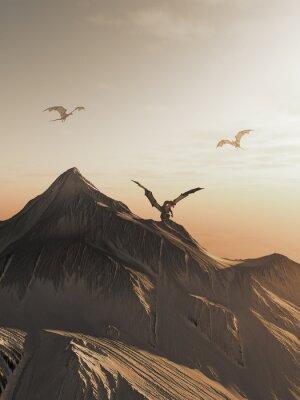 Quadro Dragão Pico no por do sol, fantasia ilustração