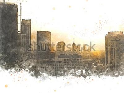 Quadro Edifício abstrato na cidade no fundo da pintura da aguarela. Cidade na escova da ilustração de Digitas à arte.