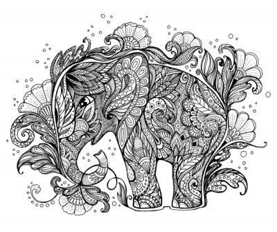 Quadro Elefante bonito pintado à mão com ornamento floral