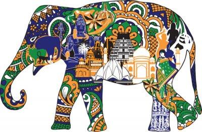 Quadro elefante com símbolos indianos