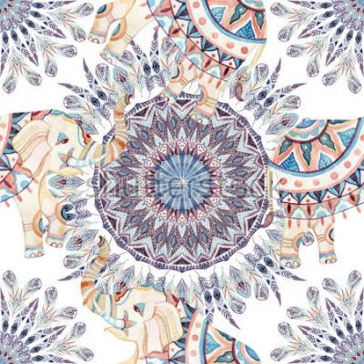Quadro Elefante étnica aquarela e fundo de mandala de pena. Teste padrão sem emenda da mandala abstrata da pena com os elefantes indianos ornamentado no fundo branco. Ilustração de pintadoes à mão para boho,