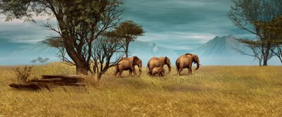 Quadro Elefantes africanos, 3D CG