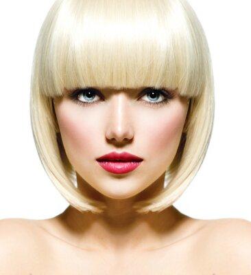 Quadro Elegante Moda Retrato Beauty. Face da menina bonita Close-up