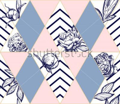 Quadro Elegante moderno padrão sem emenda geométrico com flores de peônia. Textura ideal para moda. Elemento de desenho vetorial