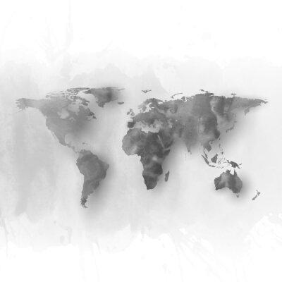 Quadro Elemento de mapa do mundo, mão abstrato cinzento desenhado da aguarela