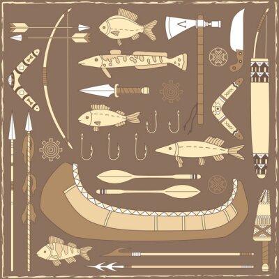 Quadro Elementos de design de pesca do nativo americano