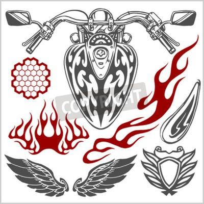 Quadro Elementos do vetor da motocicleta - jogo do vetor.
