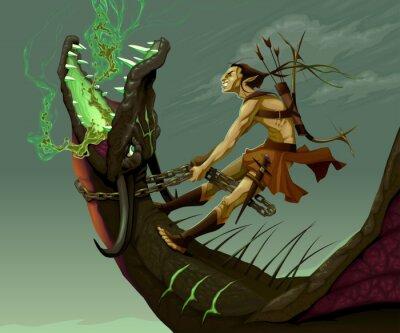 Quadro Elf está montando o dragão