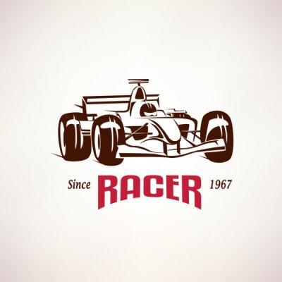 Quadro Emblema do carro de corridas da fórmula, símbolo do bolide da raça