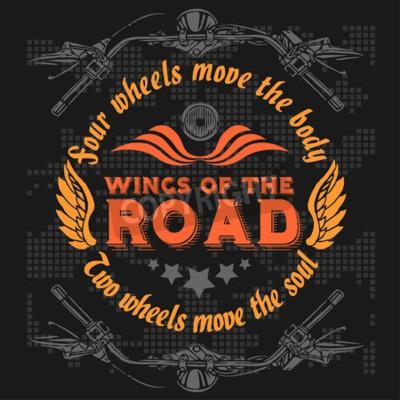 Quadro Emblema dos motociclistas do vintage. Elementos retro da bicicleta do helicóptero. Ilustração do vetor.