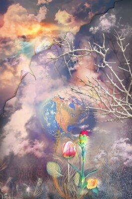 Quadro Enchanted e paisagem fantástica com flores coloridas série