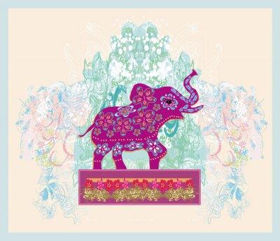 Quadro Enfeite indiano do vintage com um elefante