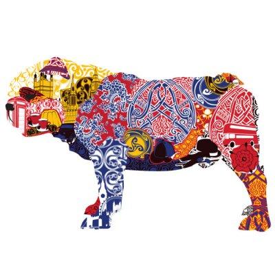 Quadro English Bulldog in miniatures and patterns symbolizing England
