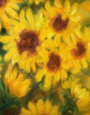 Quadro Ensolarados Girassóis pintura a óleo sobre tela.