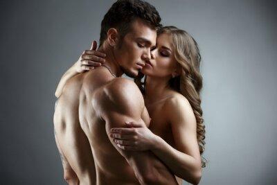 Quadro Erotica. Abraço, atraente, nude, par