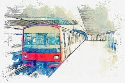 Quadro Esboço da aguarela ou ilustração do metro em Lisboa em Portugal. Tradicional, metrô, trem, em, a, estação metrô