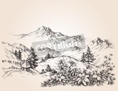Quadro Esboço da paisagem das montanhas