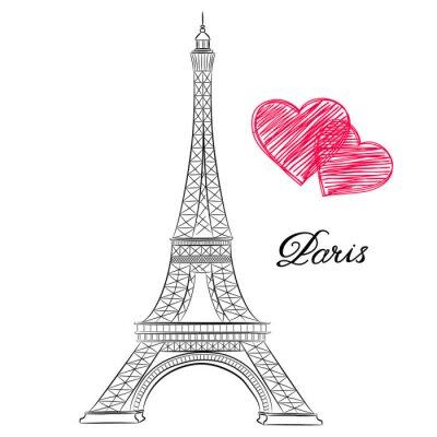 Quadro Esboço de Paris, Torre Eiffel com corações. Vector a ilustração