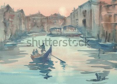 Quadro Esboço de Veneza na paisagem de aquarela névoa da manhã com uma gôndola